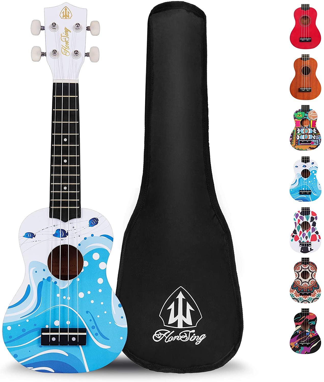 Honsing Kids Ukulele,Soprano Ukulele Beginner,Hawaii kids Guitar Uke Basswood 21 inches with Gig Bag- Wave Color matte finish