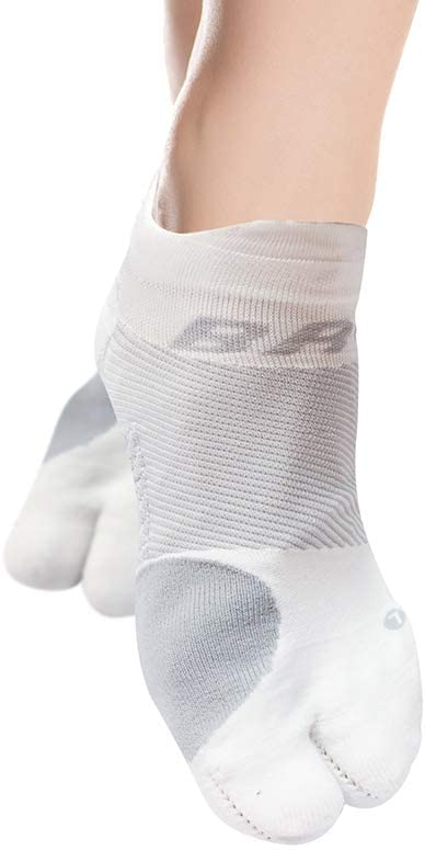OrthoSleeve BR4 Bunion Relief Socks (1 Pair,White,Large) Split-Toe Design Separates Toes, relieves Bunion Pain and a targeted Bunion pad Reduces Toe Friction and relieves Hallux valgus Pain …