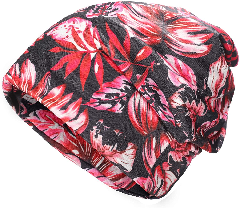 ZLYC Women Fashion Floral Slouchy Beanie Hat Lightweight Turban Cap