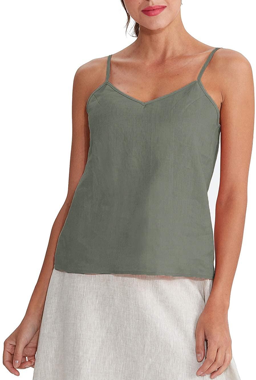 Amazhiyu Women's Linen Camisole Tank Top V-Neck Loose Casual Adjustable Strap Tops