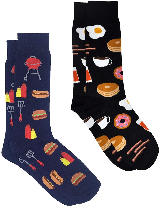 360 Threads Mens Novelty Socks - 2 Pair Set Choose Print: Halloween Food #1 Dad