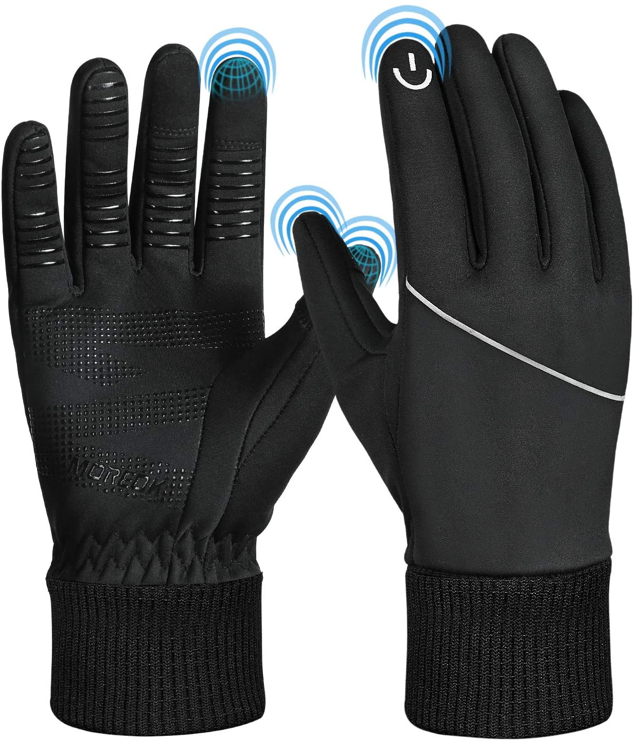 MOREOK Winter Gloves Running Gloves Men Women Touch Screen Gloves Water Resistant Windproof Warm Gloves for Running Driving Cycling