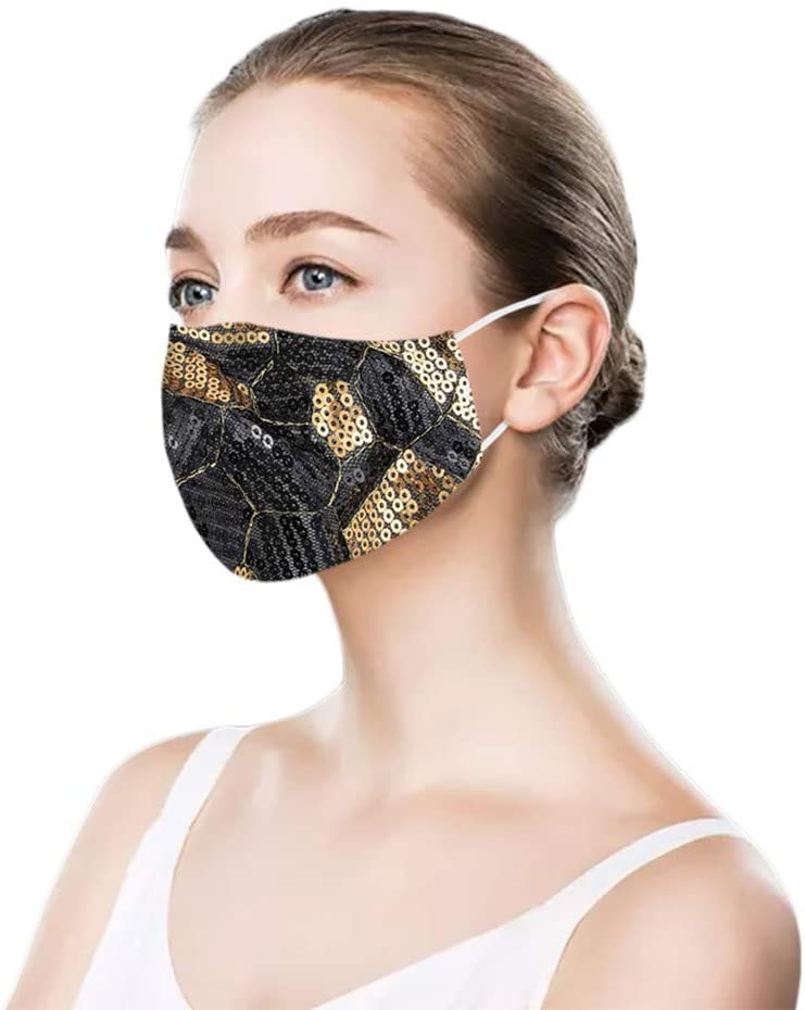 【Fast Delivery】Adults_Face_Mask_Trendy Shiny Sequin Face Bandanas Fabric Scarf Breathable Reusable Washable for Outdoor (D)