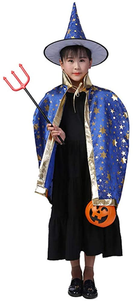 Greenery-GRE Halloween Costumes Witch Wizard Cloak with Hat Wizard Cape and Hat for Kids Boys Girls Blue