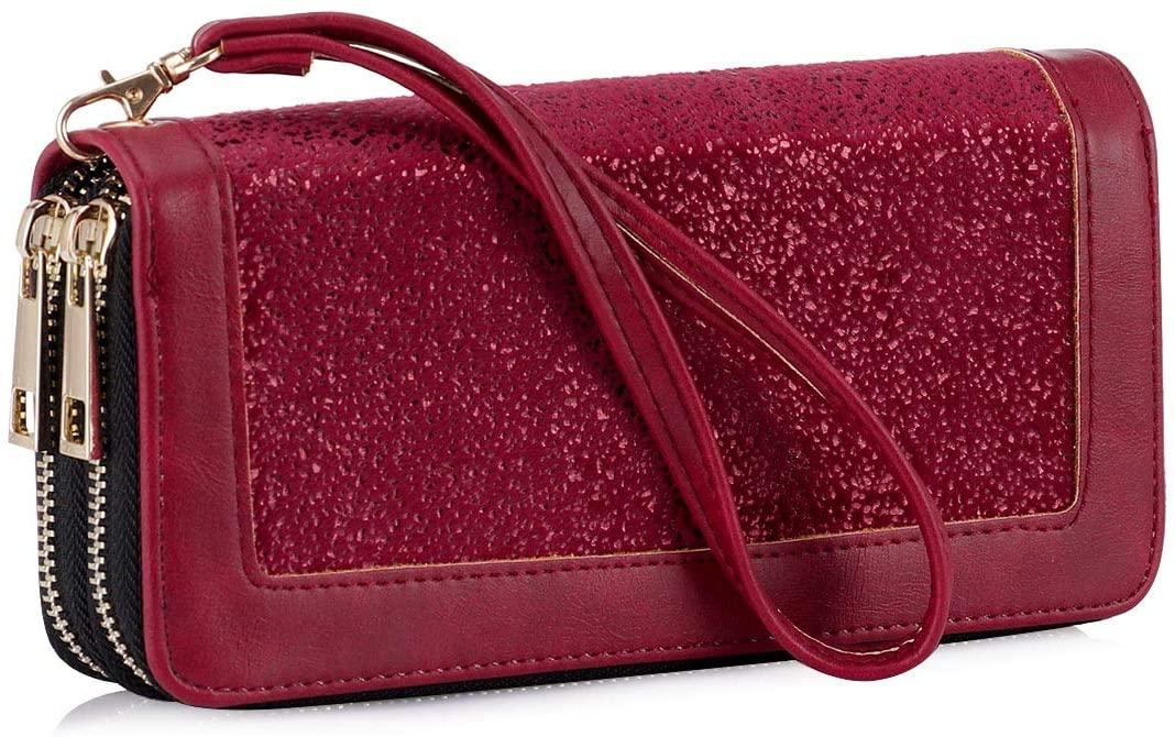 Women RFID Blocking Wallet Double Zipper Organizer Clutch Cellphone Purse Credit Card Holder with Wrist Strap (Red)