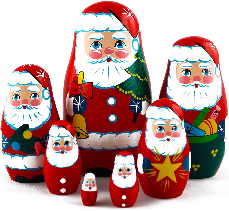 MATRYOSHKA&HANDICRAFT Christmas Santa Nesting Dolls 7 pcs - Santa Claus Christmas Decoration Doll Gifts Ideas