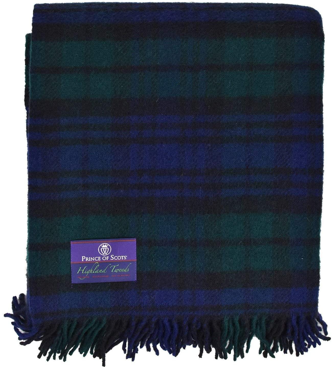 Prince of Scots Highland Tartan Tweed 100% Pure New Wool Fluffy Throw (Black Watch)