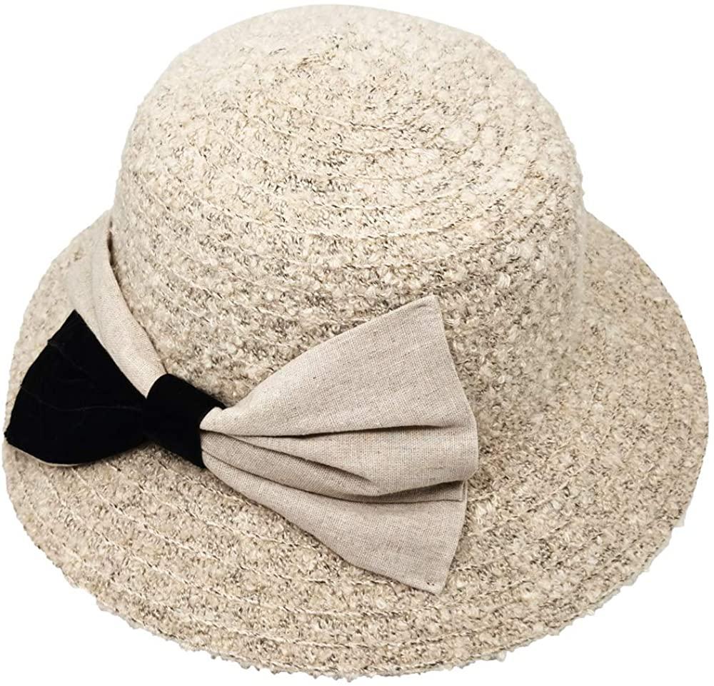 Krono Krown Women's Chenille Braided Cloche Bucket Winter Hat w/Suede Linen Bow- Velcro Adjustable, UPF 50+