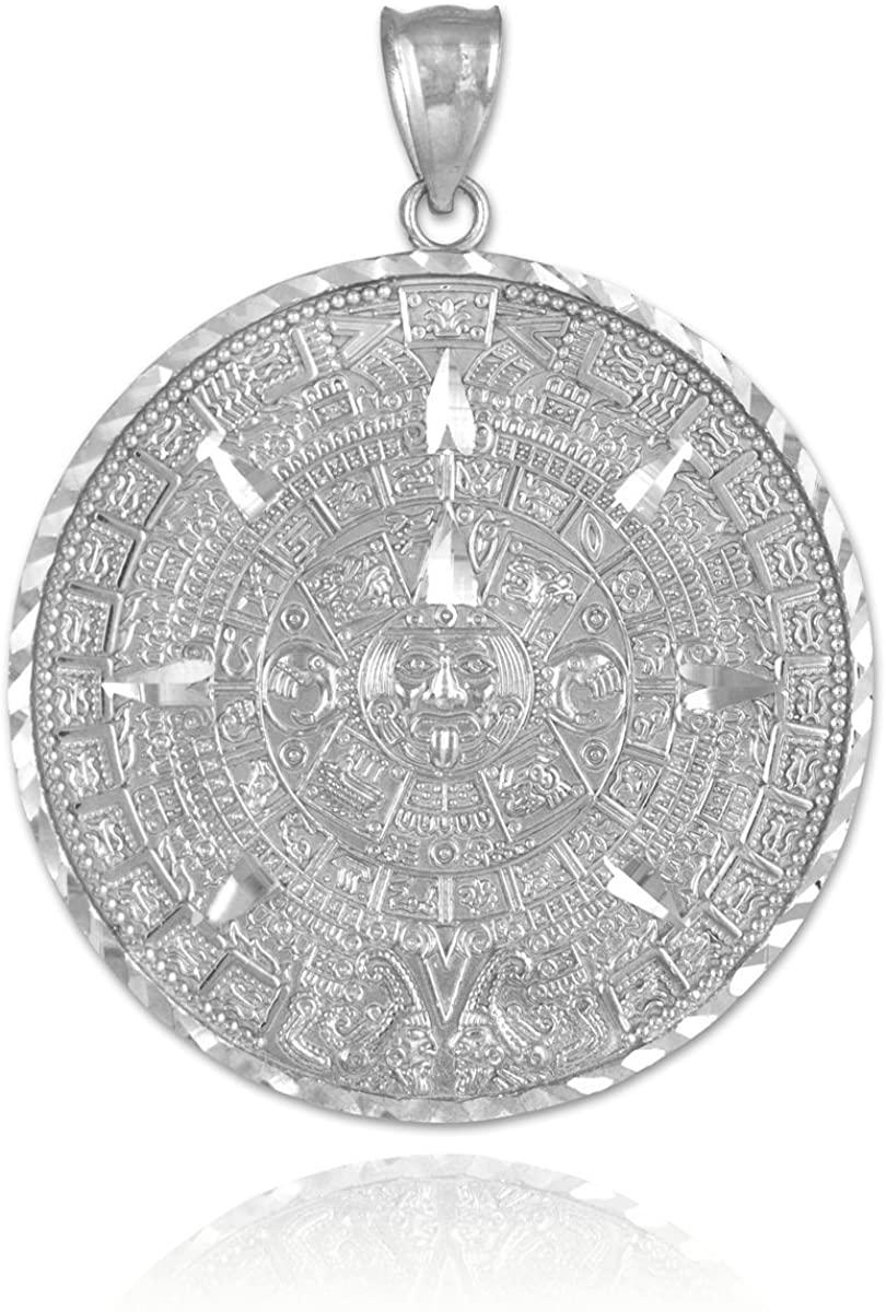 10k White Gold Aztec Charm Mayan Calendar Pendant, 1.6
