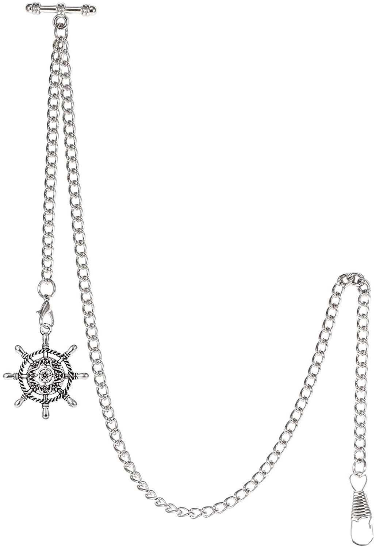 TREEWETO Men's Albert Chain Pocket Watch Curb Link Key Chain 2 Hooks with Antique Rudder Pendant Design Charm Fob T Bar