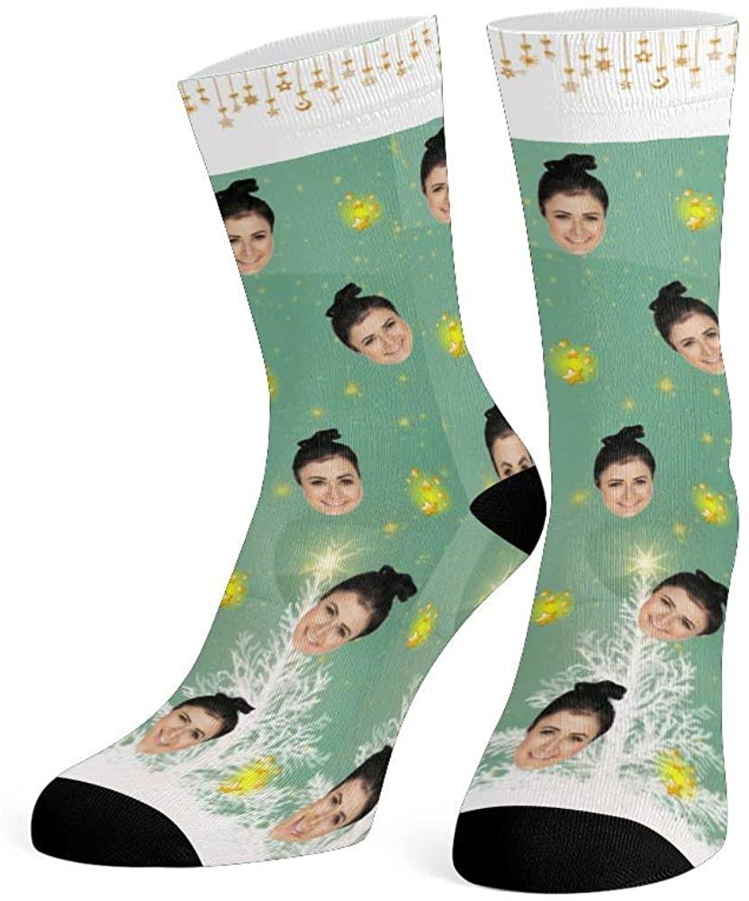 Custom Face Socks with Photo Personalized Print Christmas Gift Crew Socks for Men Women