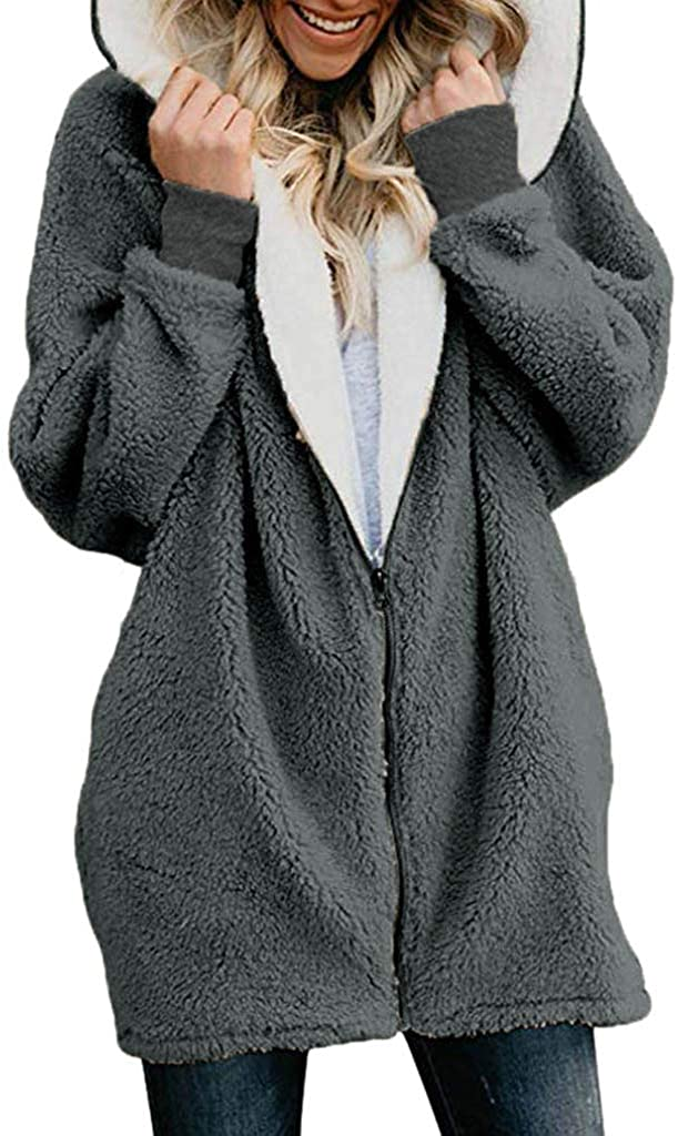 Ulanda Winter Coats for Women Plus Size Thermal Faux Fur Fleece Jacket Sherpa Lined Zip Up Fluffy Hoodies Cardigan