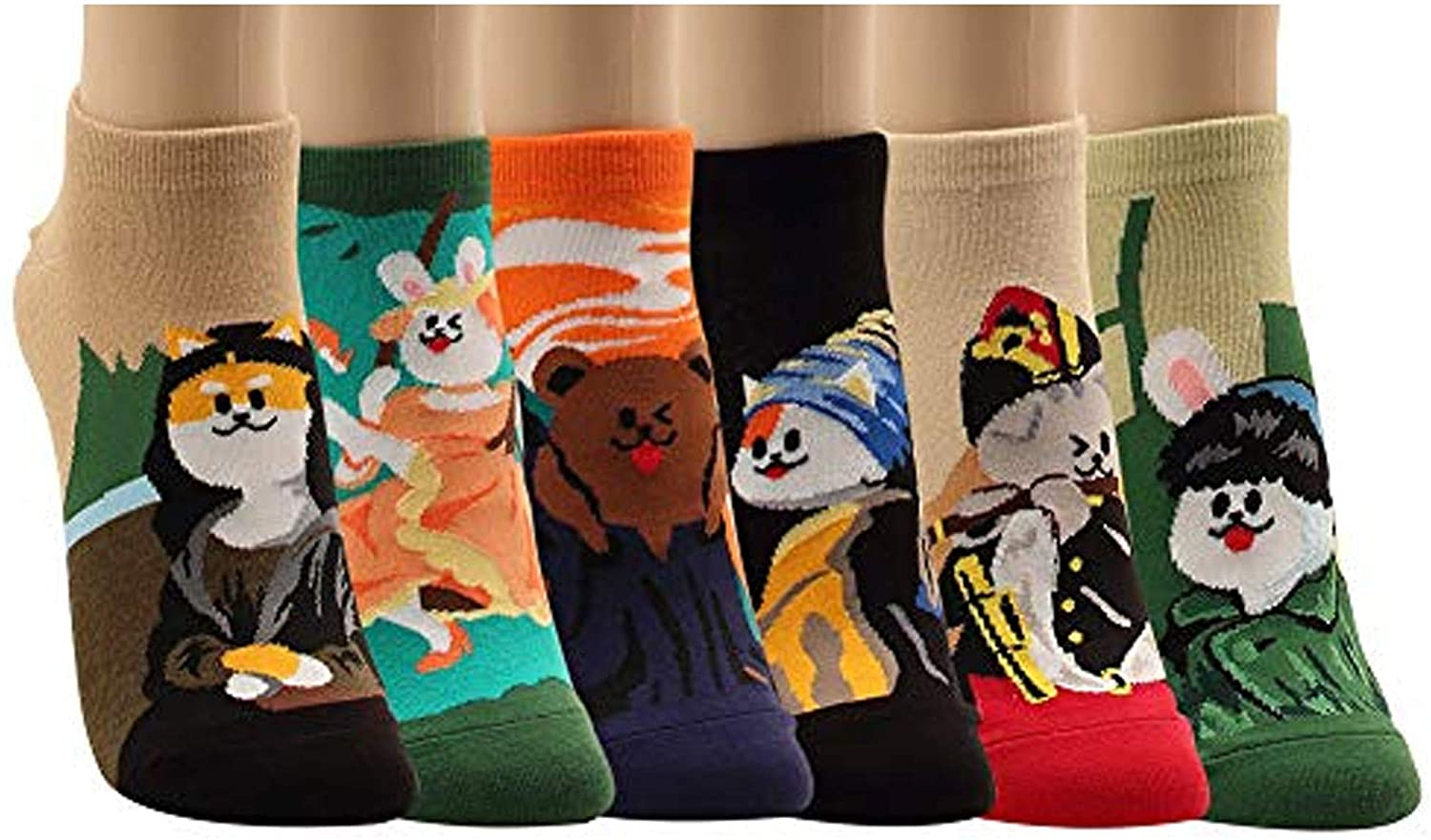 WOWFOOT Women Girls Sweet Animal Zoo Cute Funny Novelty Crew Dog Cat Owl Penguin Socks