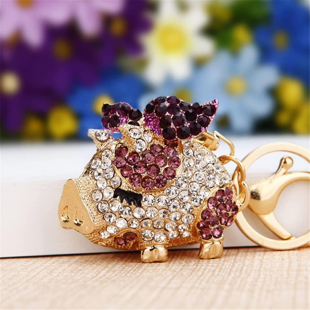 Pretty Sparkling Pig Piggy Keychain Keyring Crystal Rhinestones Purse Pendant Handbag Charm (Purple)