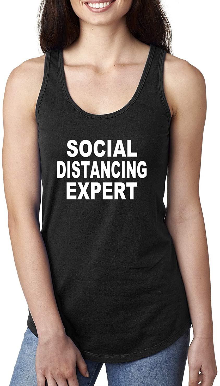 Social Distancing Expert Funny Quarantine Virus 2020   Womens Jersey Racerback Tank Top