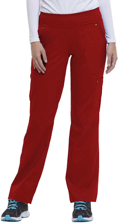 Purple Label by Healing Hands Scrubs Women's Tori 9133 5 Pocket Knit Waist Pant Red- X-Large Petite