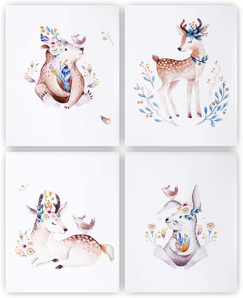 """Unframed Forest Animals Floral Crowns Nursery Decor Wall Prints, Jungle Animals Baby Room Decor, Watercolor Nursery Decor for Girls, Baby Nursery Wall Posters, 8""""x10"""", Set of 4"""