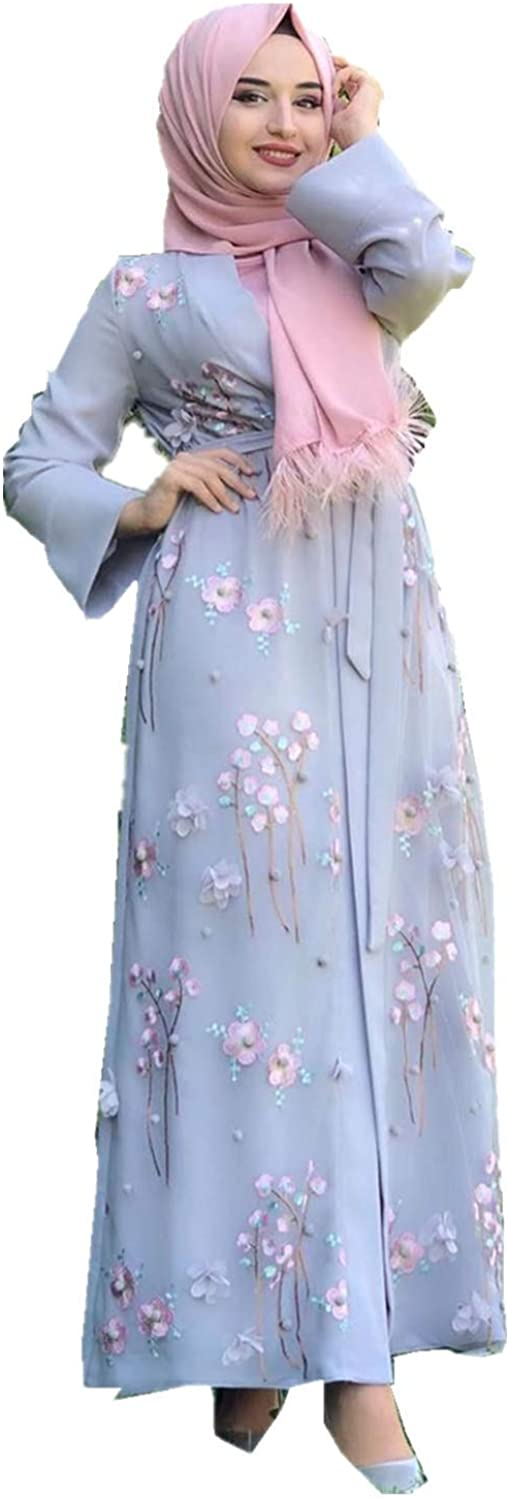 HZUX Elegant Muslim Dresses for Women Long Dress Women Abaya Dress Islamic National Robe