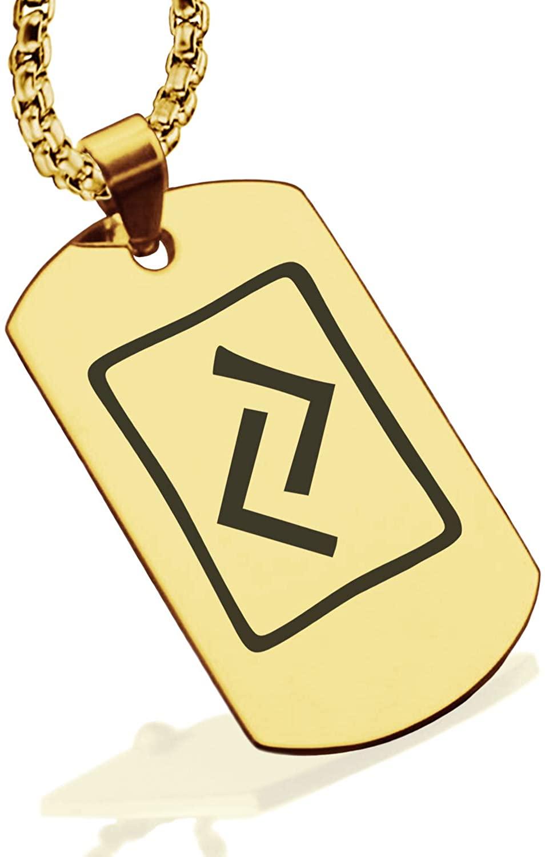Comfort Zone Studios Stainless Steel Elder Futhark Runes Dog Tag Pendant Necklace