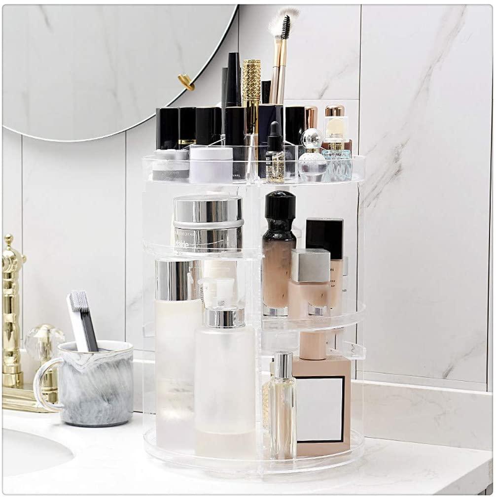Hstore Makeup Organizer,Storage Rack 360 Degree Rotating Acrylic Makeup Organizer Cosmetics Storage Stand,US Stock