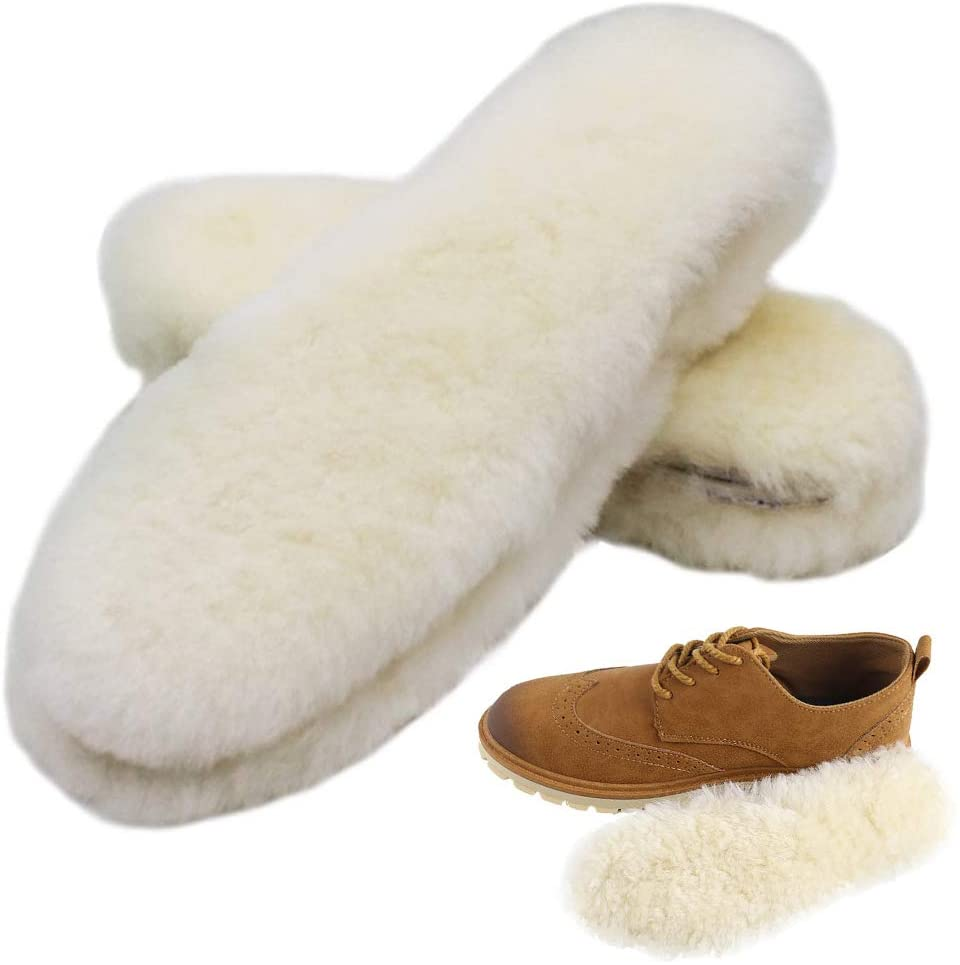 Bacophy 2 Pairs Genuine Thick Sheepskin Fleece Insoles for Women, Premium Warm Fluffy Wool Replacement Cozy Breathable Inner Soles for Shoes Boots Slippers Women Size 9