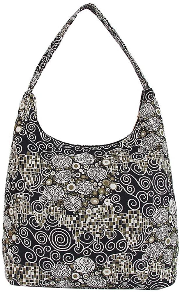 Signare Tapestry Hobo Shoulder bag slough purse for Women with Gustav Klimt Black & White Kiss Design (HOBO-KISS)