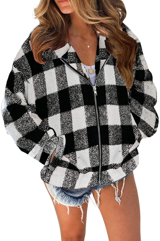 TECREW Womens Fleece Coat Lapel Fuzzy Faux Zip Up Short Pocket Jacket Outwear