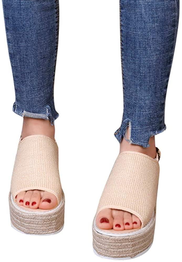Gibobby Espadrilles Wedges for Women Wide Width,Women's Platform Sandals Summer Wedge Ankle Strap Open Toe Sandals
