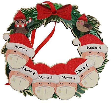 Custom Christmas Ornaments Remind Family Members to Bring Masks (support for Customized Families with 2-6 People) Christmas Tree Decoration Pendants are Full of Creative Jewelry Isolation Decoration