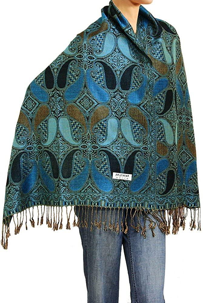 Falari Women's Woven Reversible Paisley Pashmina Shawl Wrap Scarf 80