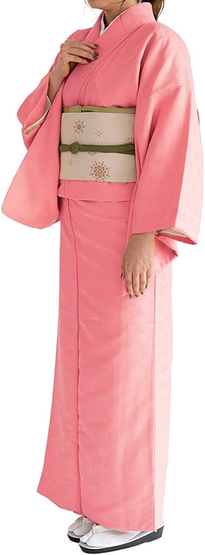 KYOETSU Women's Japanese Awase Kimono Solid Color Background Pattern