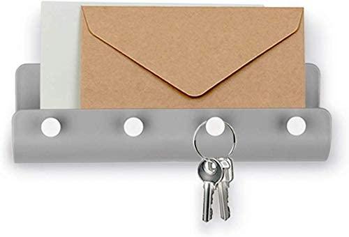 Adhesive Hooks Wall Key Hooks Holder Mail Letter Organizer Wall Key Holder Key Hangers for Wall Key Shelf Rack for Entryway Kitchen Bathroom Door - 1 Pack Grey