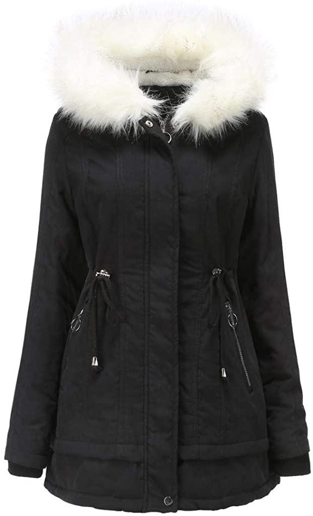 Ulanda Womens Hooded Warm Winter Coats with Faux Fur Lined Outwear Zipper Pocket Jacket Parkas Long Coats