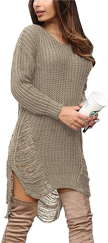 Women Oversized Loose Long Pullover Sweater Dress Winter Knit Ripped Jumper Tops