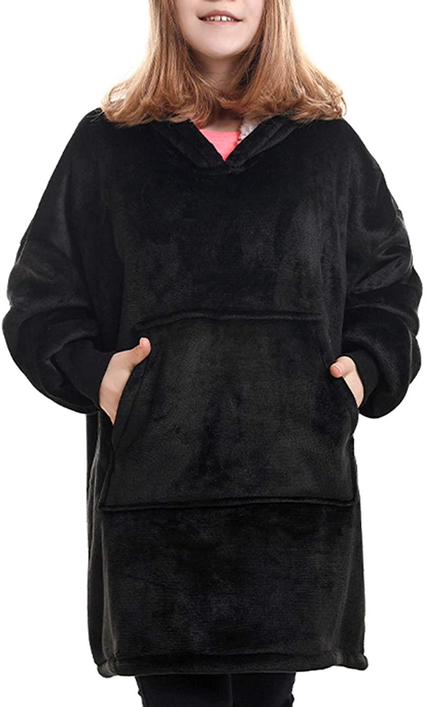 Hooever Girls Casual Wearable Blanket Sherpa Fleece Lined Flannel Hoodie Sweatshirts