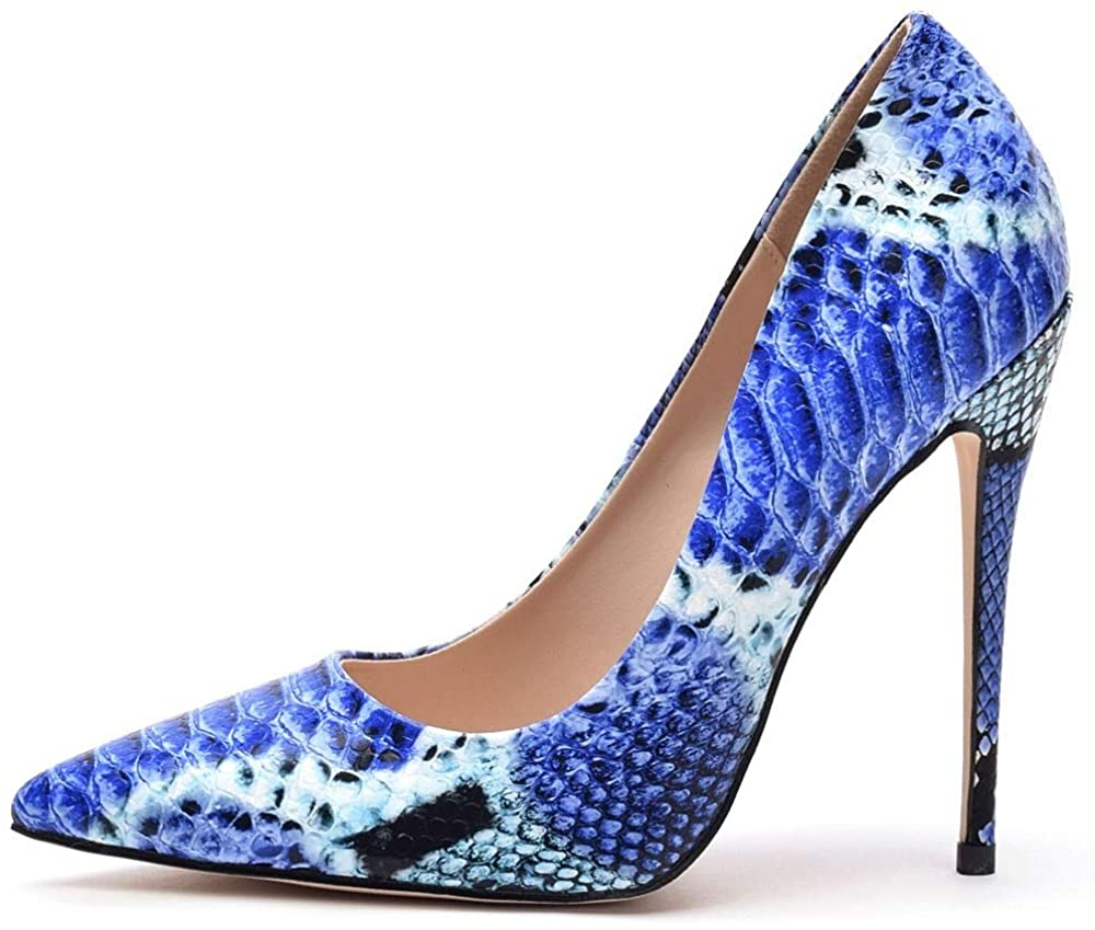 Kitulandy Women's Pumps Pointed Toe Snakeskin Shoes Stiletto High Heels Dress