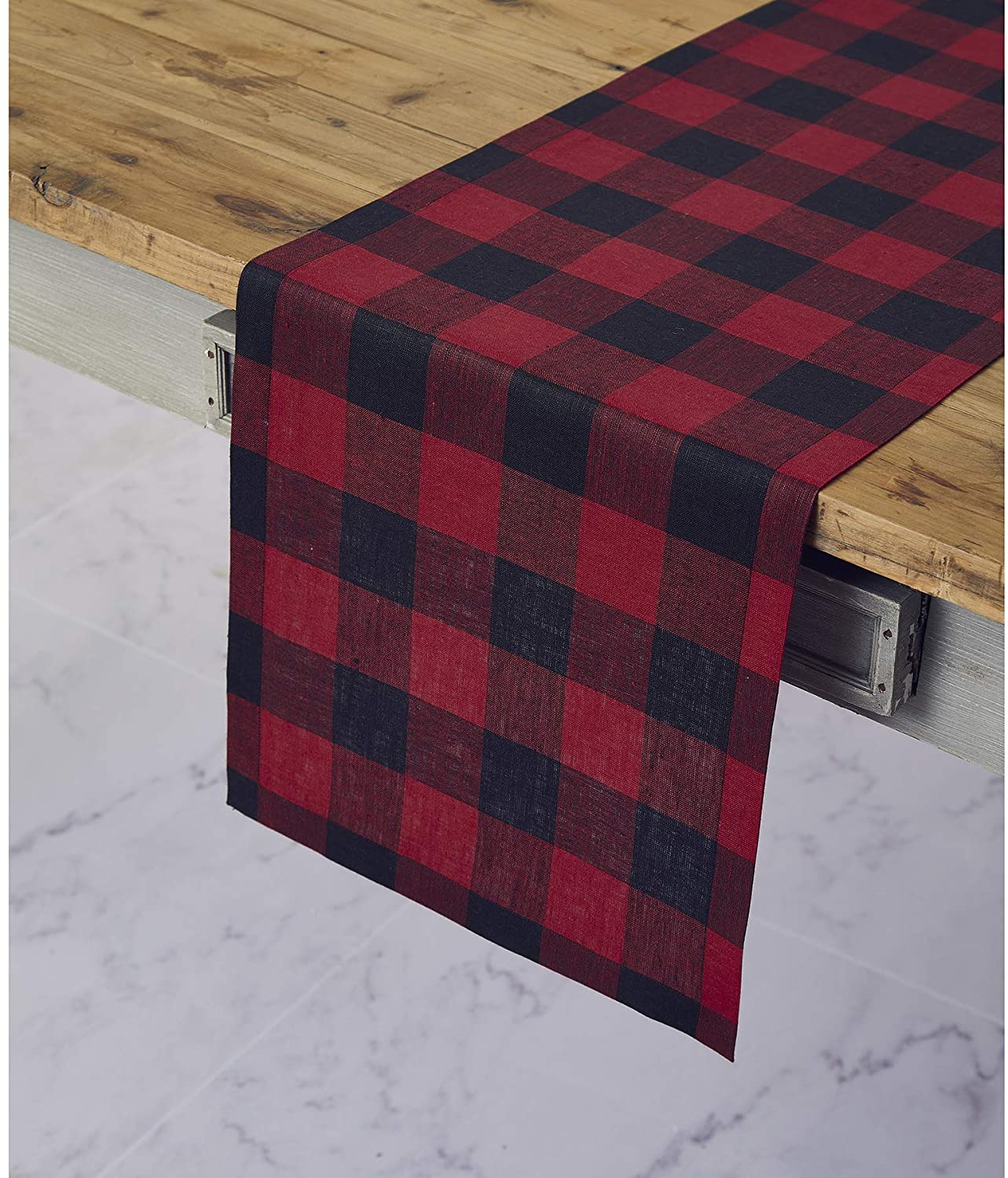 Solino Home 100% Pure Linen Buffalo Check Table Runner – 14 x 120 Inch Red & Black Checks Table Runner Natural Fabric Handcrafted from European Flax
