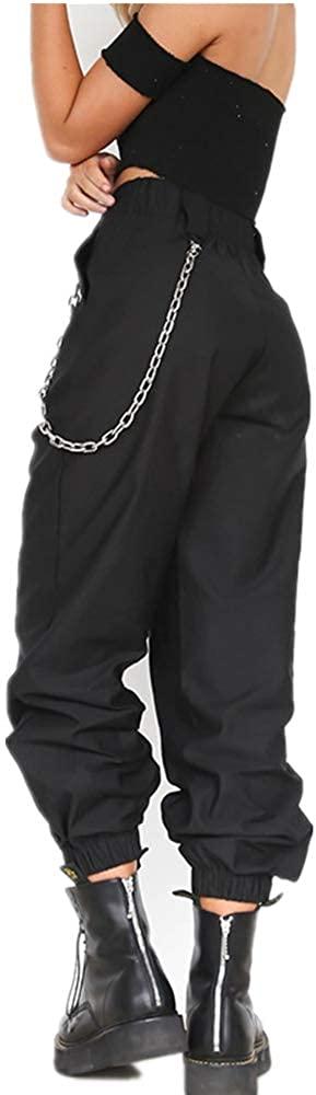 Women's Casual Loose Hip Hop Pants Stylish Chain Baggy Sport Harem Cargo Pants