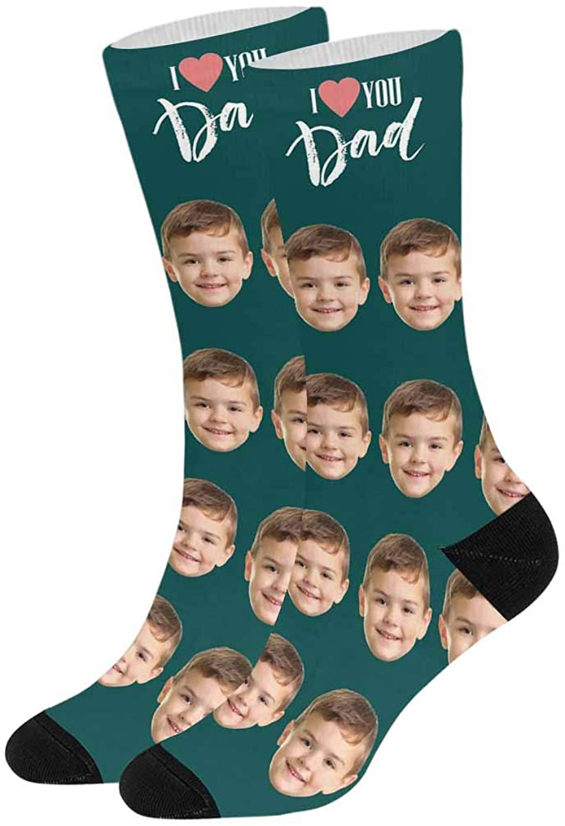 Personalized Photo Socks, Funny Socks Turn Your Face into Socks for Men and Women I Love You Father Dad Papa