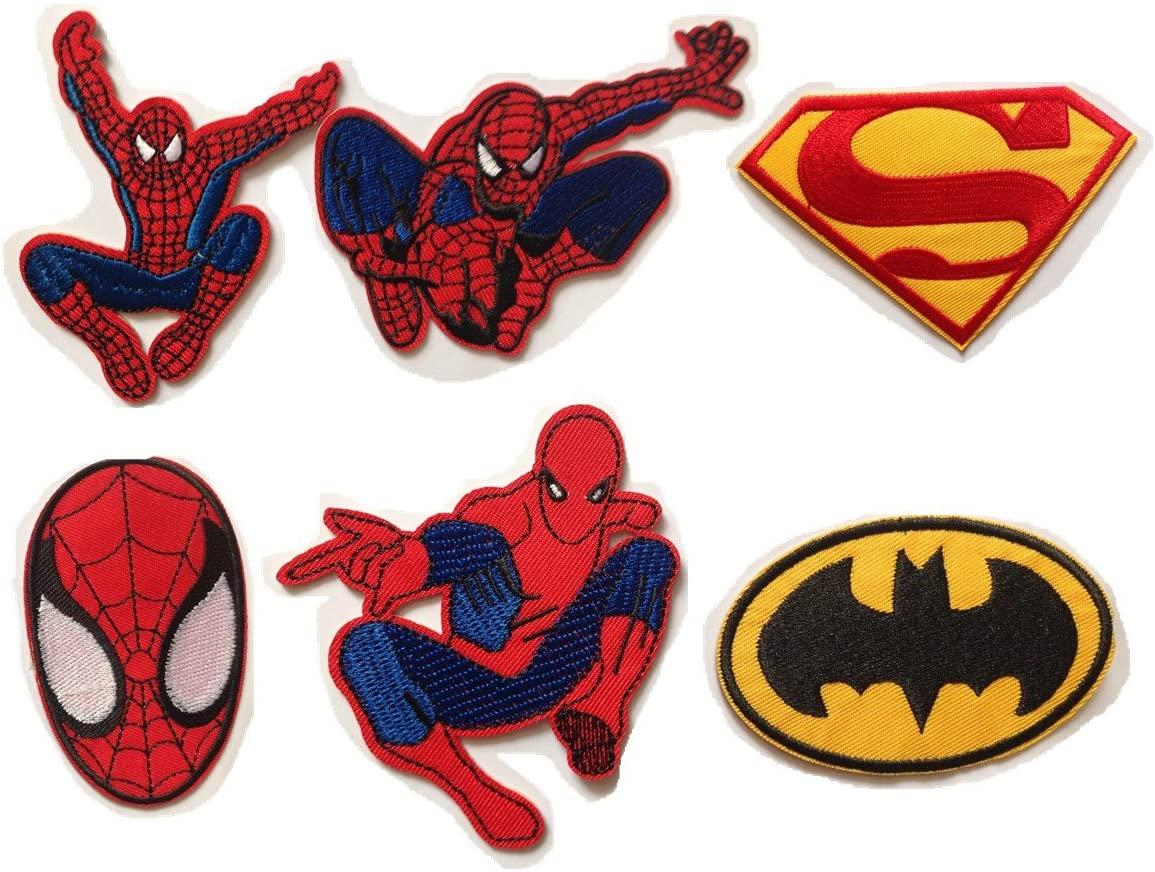 Spiderman Batman Superman Embroidered Iron/sew on Patch Cloth Applique Set of 6 (Purple)