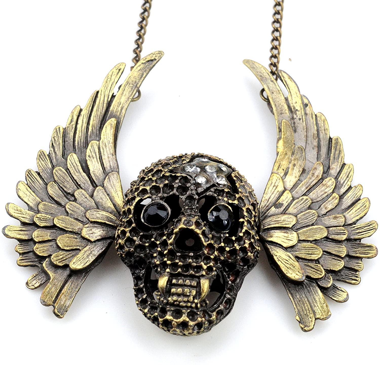 PURPLE WHALE Fashion Jewelry Punk Biker Vintage Bronze Vampire Wing Pendant Crystal Rhinestone Necklace