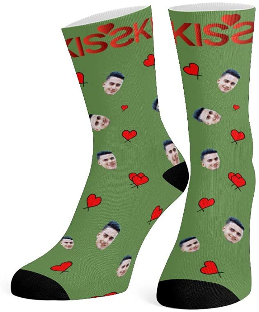 Custom Face Socks with Photo Personalized Print Halloween Crew Socks for Men Women
