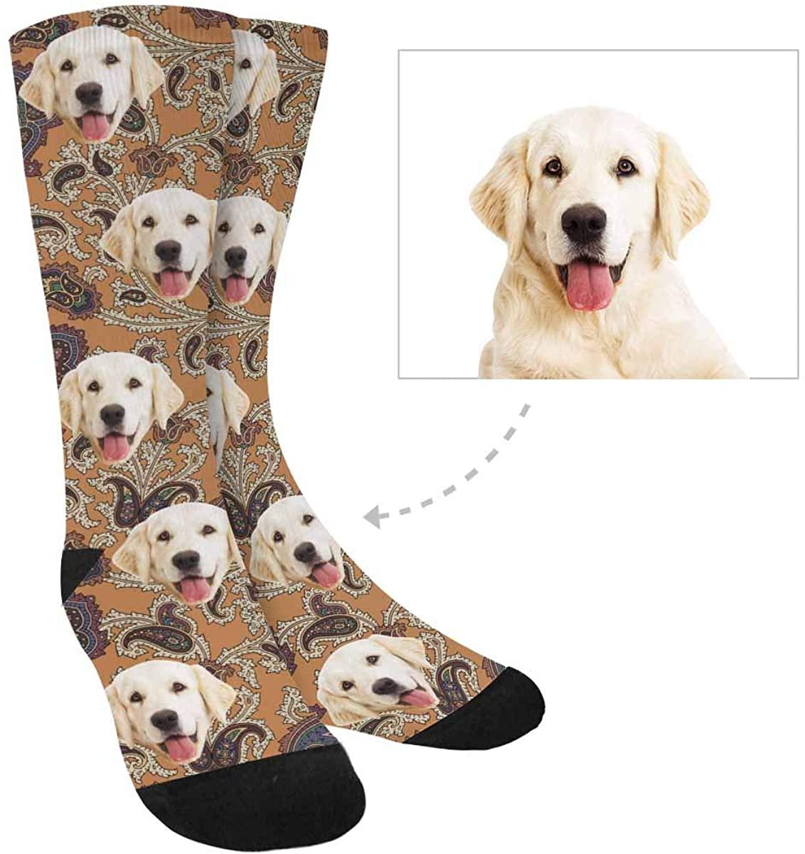 Custom Print Face Socks, Personalized Retro Paisley Socks for Women Men
