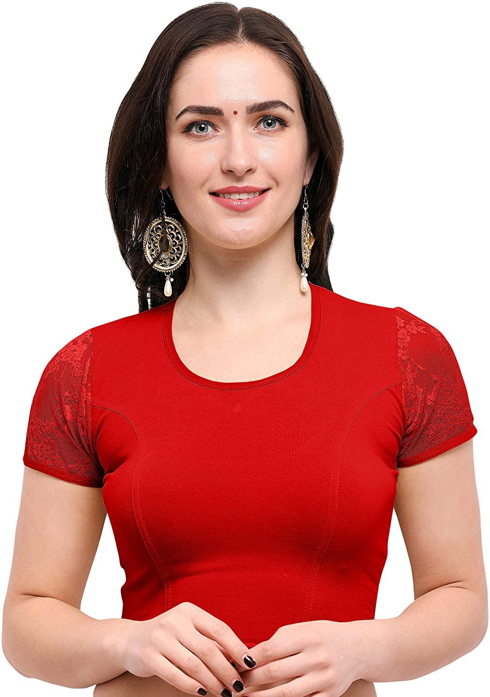 Janasya Womens Cotton Lycra Stretchable Readymade Blouse (BL046-82RED-A)