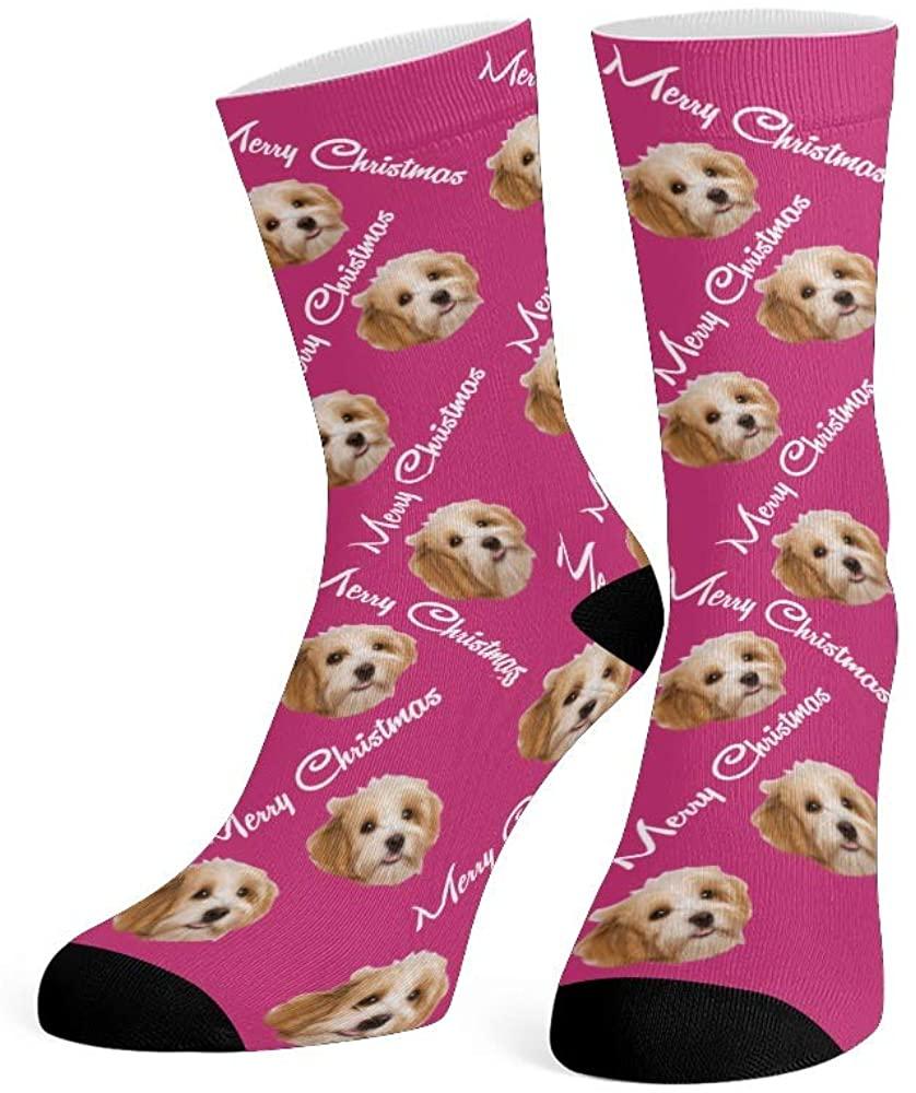 Personalized Face Socks with Photo Custom Print Happy Birthday Crew Socks for Men Women