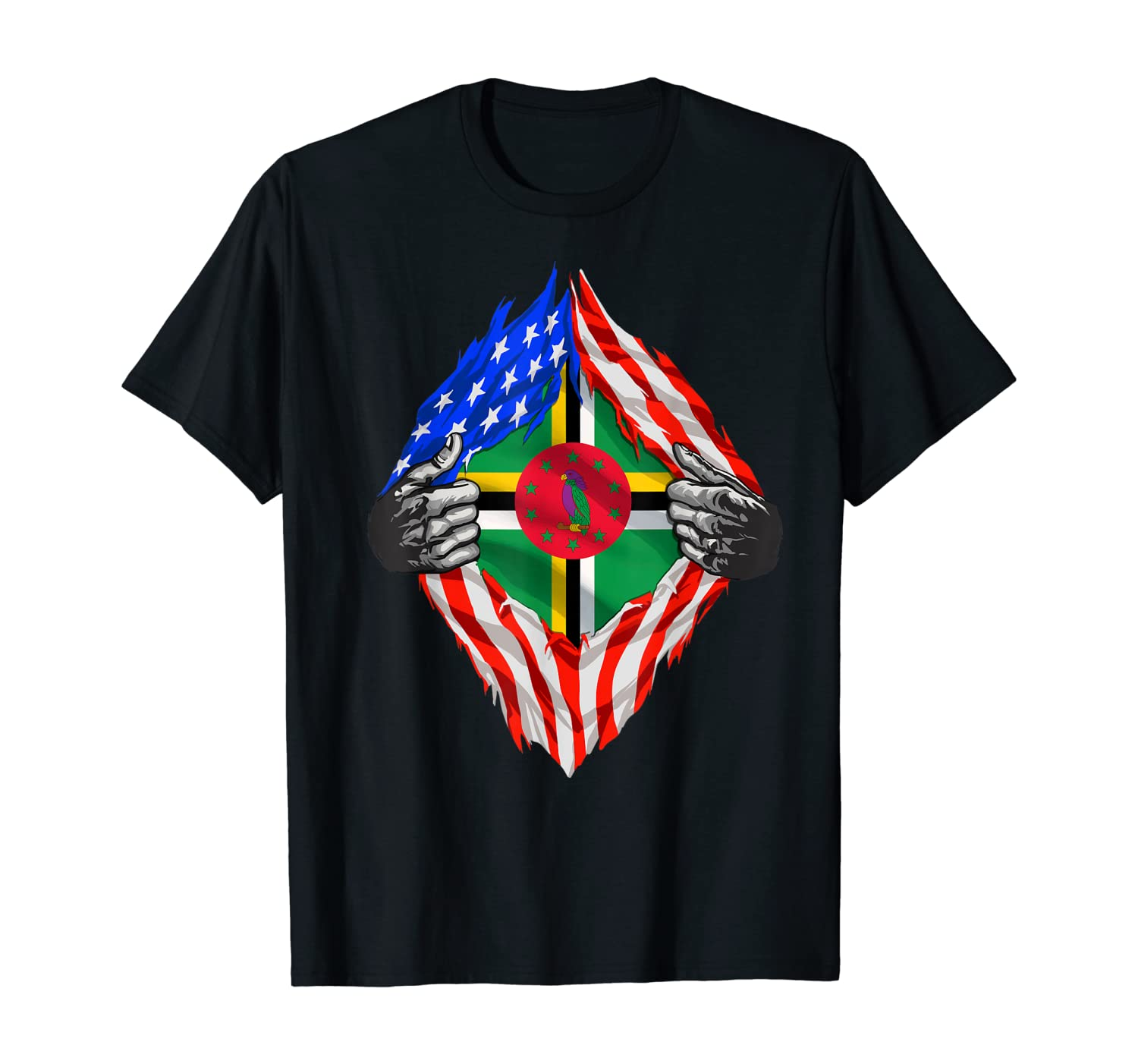 Super Dominician Heritage Dominica Roots USA Flag Gift T-Shirt