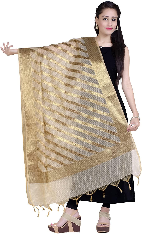 Chandrakala Women's Handwoven Tussar Gold Zari Work Indian Etnic Banarasi Dupatta Stole Scarf(D117)