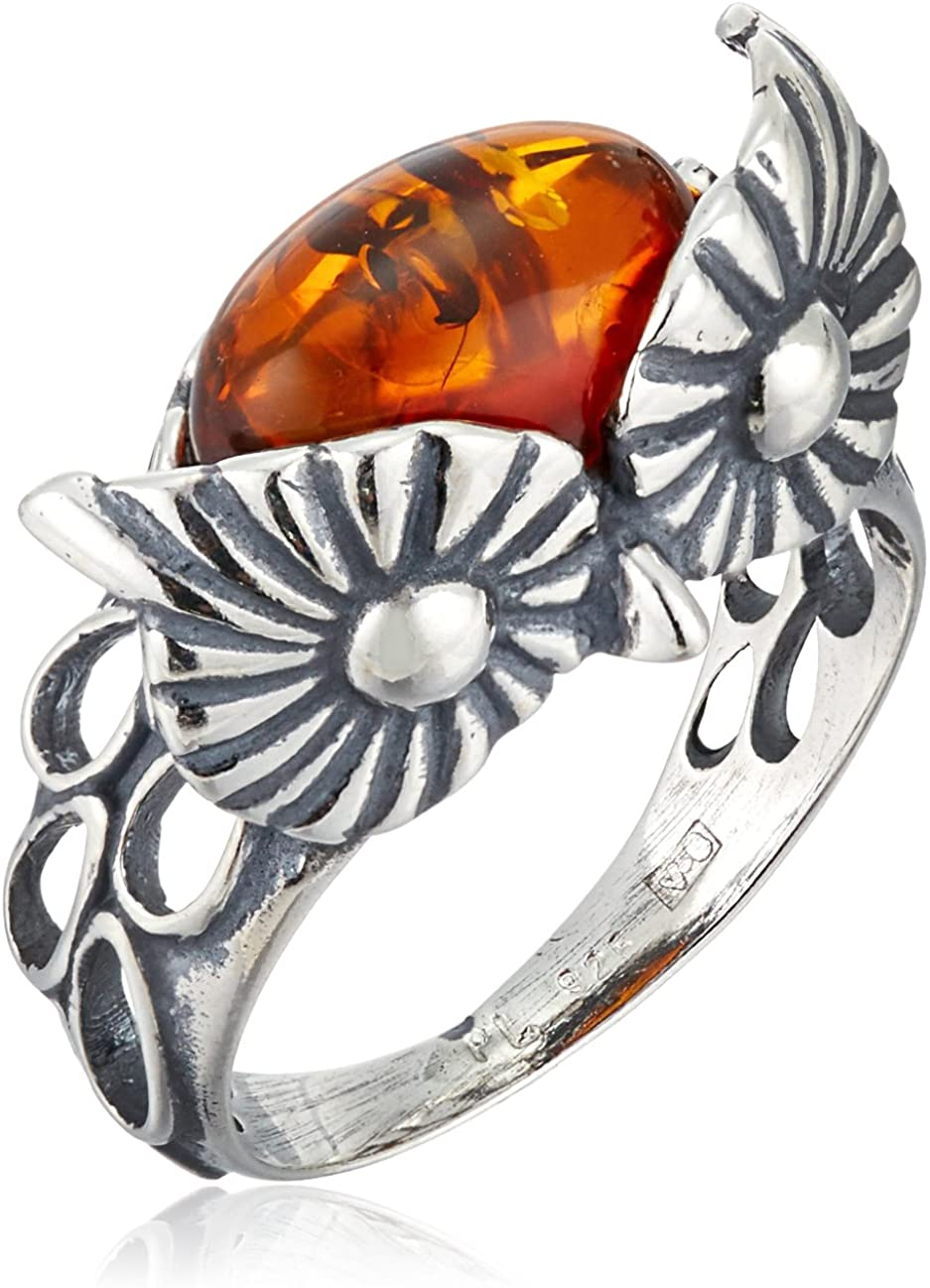 Amber Sterling Silver Owl Ring, Size 7