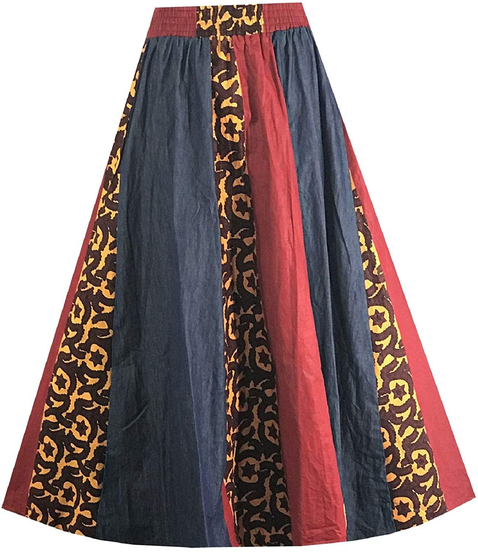 Decoraapparel Long Denim Dashiki Wax Skirts High Waist Maxi Ankara Print Jeans Plus Size Skirts