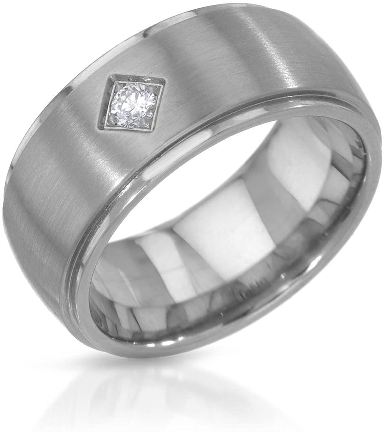 TeNo Stainless Steel 0.06 CTW Color F, VS1 Diamond Band Ring. Ring Size 5.5.